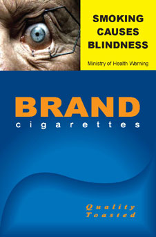 Image of the Smoking causes blindness cigarette packet design - front