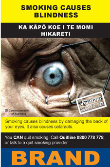 Image of the Smoking causes blindness cigarette packet design - back