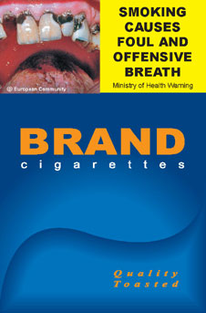 Image of the Bad Breath cigarette packet design - front