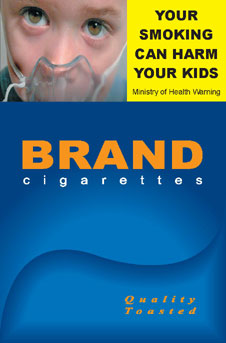 Image of the Harmful to Kids cigarette packet design - front