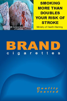 Image of the Stroke cigarette packet design - front