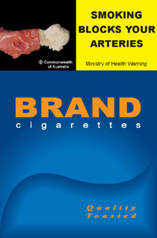 Image of the Blocked Arteries cigarette packet design - front