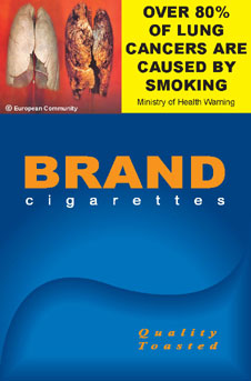 Image of the Smoking causes lung cancer cigarette packet design - front