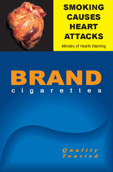 Image of the Heart attack cigarette packet design - front