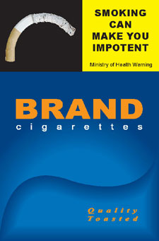 Image of the Impotent cigarette packet design - front