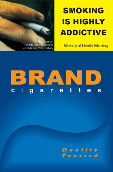 Image of the Addictive cigarette packet design - front