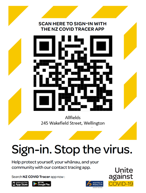QR code sign-in poster with the COVID-19 yellow stripes.