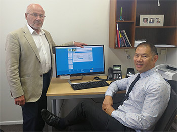 Dr Peter Moodie (left) and Dr Jeff Lowe demonstrate Karori Medical Centre's patient portal