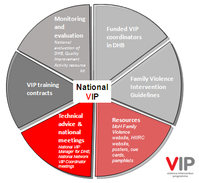 Pie chart with 6 segments: funding VIP coordinators in DHBs; Family Violence Intervention Guidelines; resources (MOH Family Violence website, HIIRC website, posters, cue cards, pamphlets); technical advice and national meetings (National VIP Manager for DHB, National Network VIP Coordinator meetings); VIP training contracts; monitoring and evaluation (national evaluation of DHBs, Quality Improvement Activity resource kit).