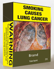 Image showing an example of plain packaging. In large font, the front of the package reads 'Smoking causes lung cancer'. It features a photo of a pair of damaged lungs clamped open. Under the image, in a smaller font, goes the brand name and variant. The number of cigarettes in the package goes in a small font in the corner. A more detailed warning is on the side of the package.