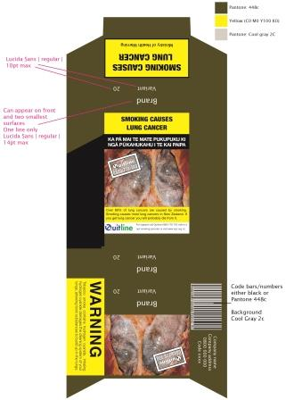 Indicative layout for printing a standardised cigarette pack
