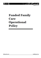 Funded Family Care Operational Policy