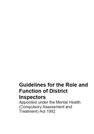 Guidelines for the Role and Function of District Inspectors cover