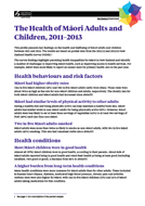 The Health of Māori Adults and Children, 2011–2013 cover
