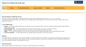 Report on Maternity web tool.