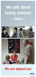 We Talk About Family Violence Here poster.