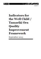 Well Child / Tamariki Ora indicators cover