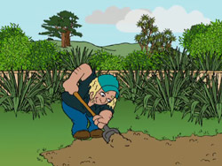 Cartoon illustration of someone digging in their garden.