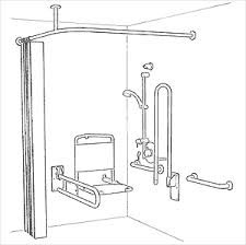 Illustration of a level access shower.