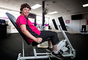 Toni works out at her gym in Whakatane.
