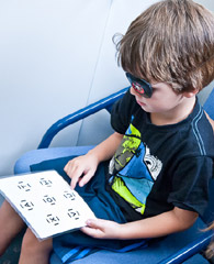 Photo of a child having a vision check at the B4 School Check.