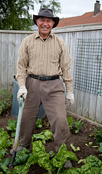 Photo of a Māori man in his garden with the silverbeet.