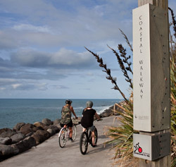 Two cyclist heading down a coastal track.