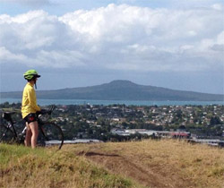 Photo of a cyclist on a hill looking out over Auckland Harbour.
