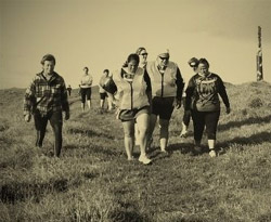 Photo of a group of young people out walking.