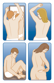 Illustration of people checking the body areas listed below.