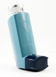 Photo of a Ventolin asthma inhaler.