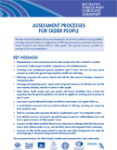 Assessment processes for older people: Summary
