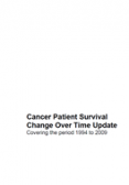 Cancer patient survival - change over time update - covering the period 1994 to 2009 cover