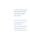 New Zealand Health Research Strategy submissions.
