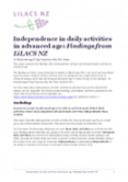Independence in daily activities in advanced age.