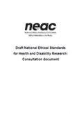 Draft National Ethical Standards for Health and Disability Research.