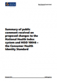 Summary of public comment received on proposed changes to the National Health Index system and HISO 10046.
