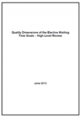 Quality Dimensions of the Elective Waiting Time Goals cover.